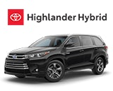 3/4 Quarter Left Facing Image of a Black 2019 Highlander Hybrid