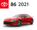3/4 Quarter Left Facing Image of a Red 2021 Toyota 86