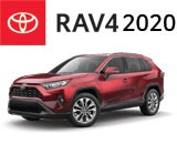 3/4 Quarter Left Facing Image of a Red 2020 Toyota RAV4